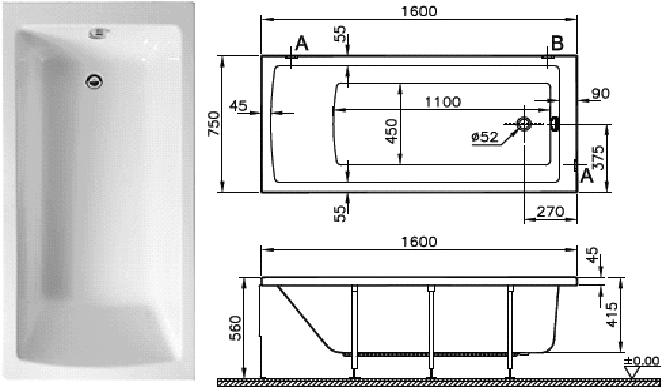 Акриловая ванна Vitra Neon 160x75 без гидромассажа