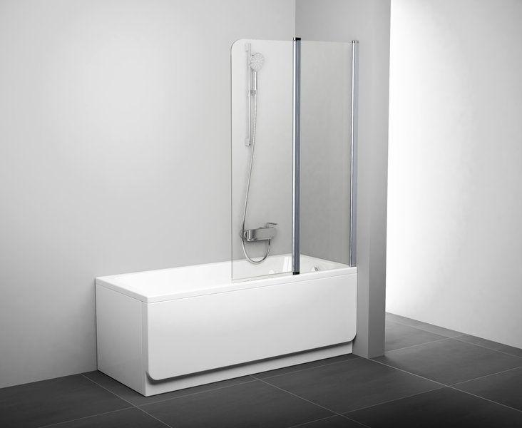 Шторка для ванны Ravak CVS2 100 см профиль- матовый хром, прозрачное стекло