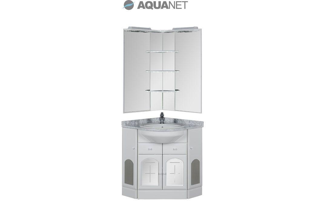 Комплект мебели Aquanet  Ринконера Европа 70 NEW угловой мрамор серый, зеркало с полками (161285)