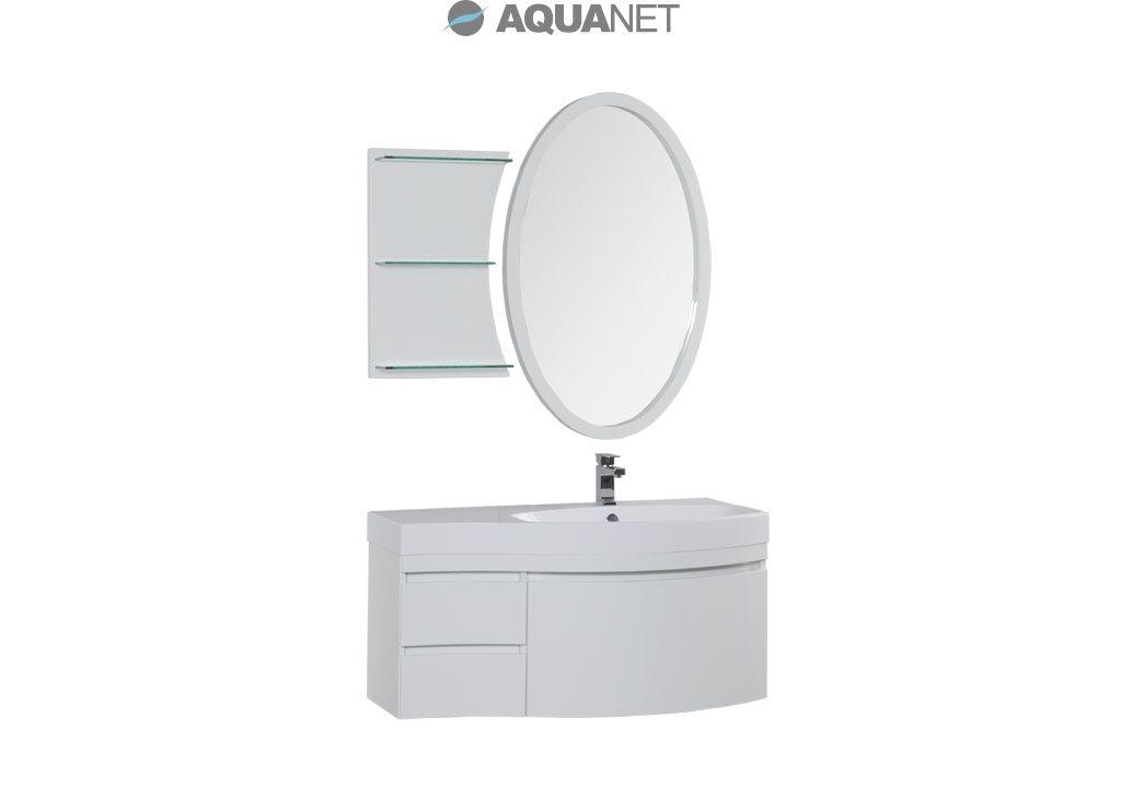 Комплект мебели Aquanet  Опера 115 правая с выдвижными ящиками,  зеркало овальное+полка, цвет белый (169452)