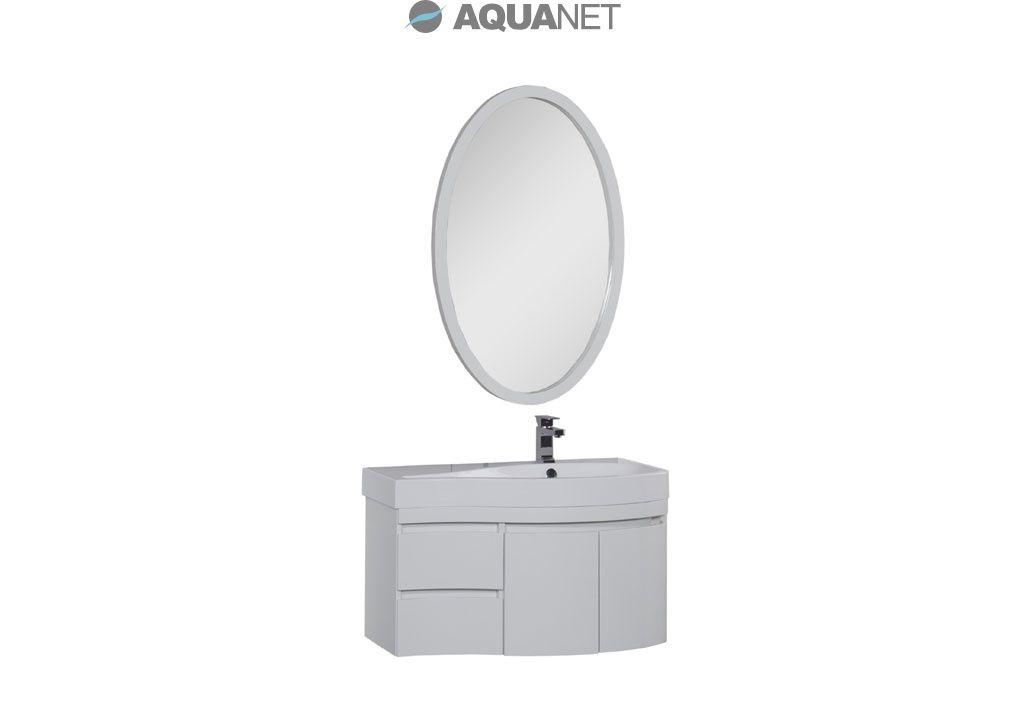 Комплект мебели Aquanet  Сопрано 95 правая распашные двери зеркало овальное, цвет белый (169345)