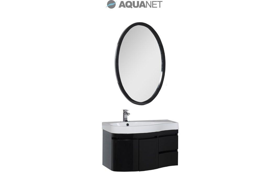 Комплект мебели Aquanet  Сопрано 95 левая распашные двери, зеркало овальное, цвет черный (169422)