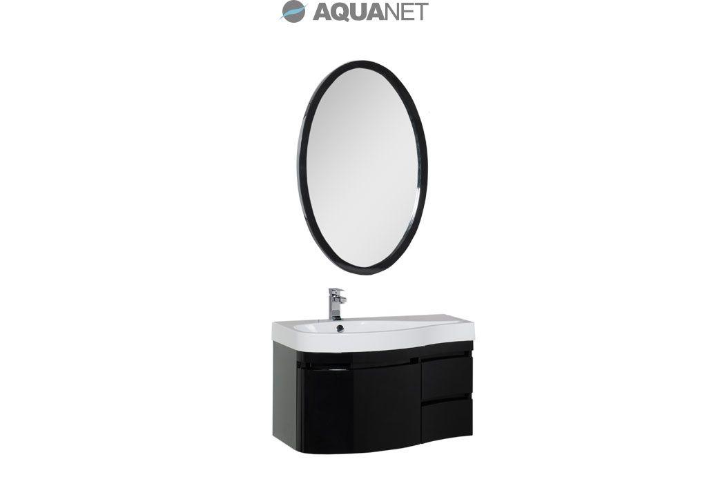 Комплект мебели Aquanet   Сопрано 95  левая с выдвижными ящиками, зеркало овальное, цвет черный (169441)