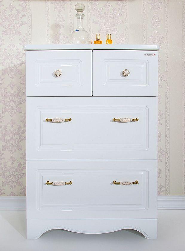 Комод для ванной комнаты Бриклаер Анна 60, белый глянец
